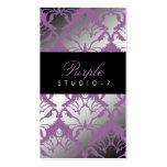 311 Damask Shimmer Purple Plush Business Card Templates