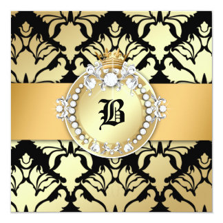 """311 Damask Shimmer Queen Fab 50 Black 5.25"""" Square Invitation Card"""