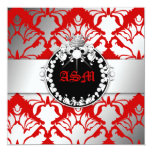 311-Damask Shimmer Queen Kisses Sweet 16 Cherry Custom Announcements