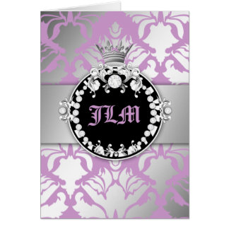 311 Damask Shimmer Queen Sweet Purple Lilac Card