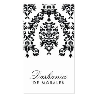 311-Dashing Damask | Ebony & Ivory Double-Sided Standard Business Cards (Pack Of 100)