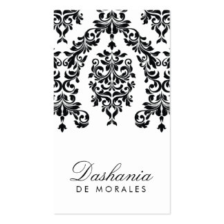 311-Dashing Damask Ebony Ivory Business Card