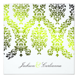 311-Dashing Damask Fresh Lime Invitation