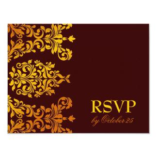311 Dashing Damask | Fresh Orange Yellow RSVP 4.25x5.5 Paper Invitation Card