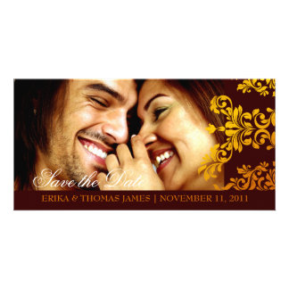 311 Dashing Damask Fresh Orange Yellow Save Date Card
