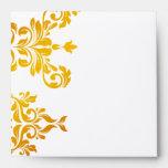 311 Dashing Damask Fresh Orange Yellow Square Envelopes