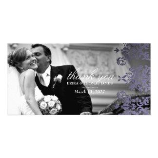 311 Dashing Damask Hydrangea Purple Thank You Custom Photo Card