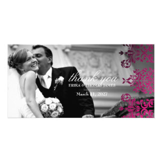 311-Dashing Damask | Magenta Thank You Photo Card