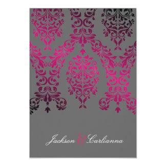 311-Dashing Damask Night Magenta Dark Gray 5x7 Paper Invitation Card