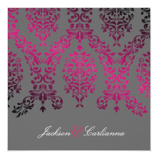 311-Dashing Damask Night Magenta Gray Personalized Announcement