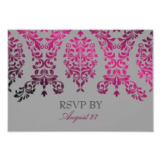 311-Dashing Damask Night Magenta Light Gray 3.5x5 Paper Invitation Card