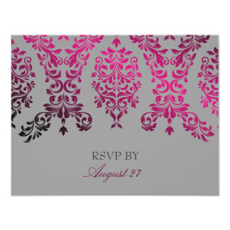 311-Dashing Damask Night Magenta Light Gray 4.25x5.5 Paper Invitation Card