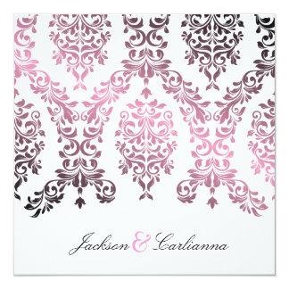311-Dashing Damask Pink Invitation