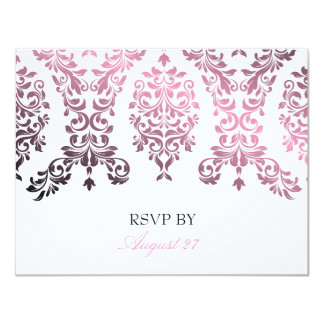 311-Dashing Damask Pink Personalized Announcement