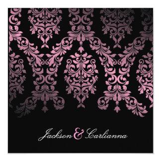 311-Dashing Damask Pink Night Invitation