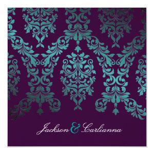 311-Dashing Damask | Sea Garden at Night Eggplant 5.25x5.25 Square Paper Invitation Card