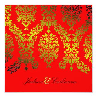 311-Dashing Damask | Secret Garden Red Hot Invitation