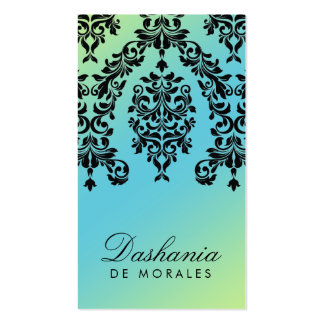 311 Dashing Damask Turquoise Lime Business Card