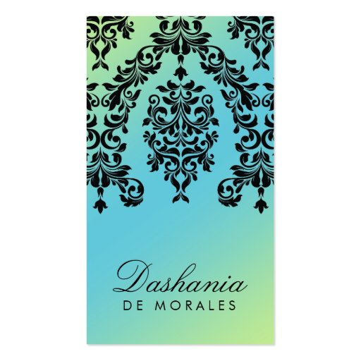 311 Dashing Damask Turquoise Lime Double-Sided Standard Business Cards (Pack Of 100)