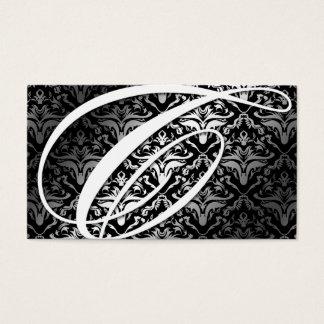 311-Dazzle Me Damask -C Monogram Black Business Card