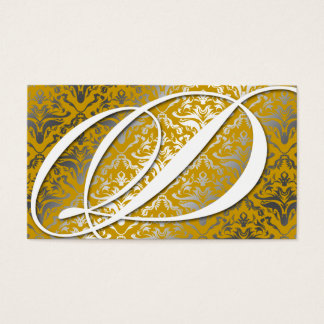 311-Dazzle Me Damask - D Monogram Golden Business Card