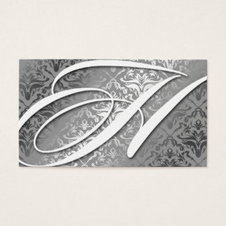 311-Dazzle Me Damask - H Monogram Silver Business Card