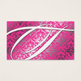311 Dazzle Me Damask - T Monogram Pink Sizzle Business Card