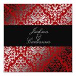 311-Dazzling Damask Cherry 5.25x5.25 Square Paper Invitation Card