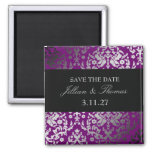 311-Dazzling Damask Extraordinary Purple 2 Inch Square Magnet