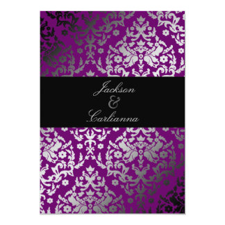 311-Dazzling Damask Extraordinary Purple 5x7 Paper Invitation Card