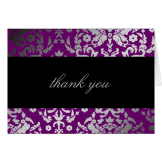 311 Dazzling Damask Extraordinary Purple Thank You Card