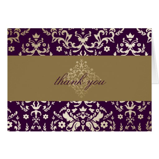 311-Dazzling Damask Gold Eggplant Thank you Card