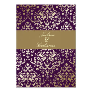 311 Dazzling Damask Gold Ivory Deep Purple 5x7 Paper Invitation Card