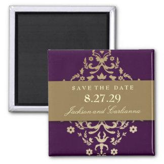 311-Dazzling Damask Gold Ivory Eggplant 2 Inch Square Magnet