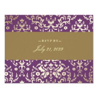 311-Dazzling Damask Gold Ivory Eggplant Card