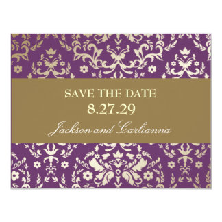311-Dazzling Damask Gold Ivory Save the Date Card