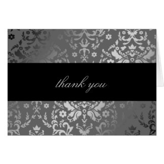 311 Dazzling Damask Gray Storm Thank You Card