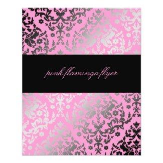 311-Dazzling Damask Pink Flamingo Flyer flyer