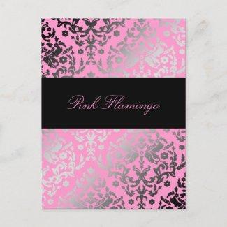 311-Dazzling Damask Pink Flamingo postcard
