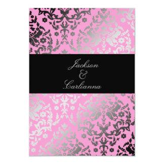 311-Dazzling Damask Pink Flamingo w/ Guest List Card