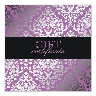 311 Dazzling Damask Purple Plush Gift Certificate Card