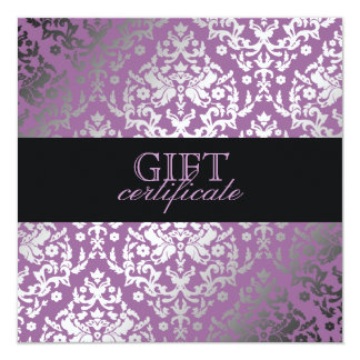 311 Dazzling Damask Purple Plush Gift Certificate Card