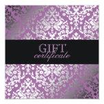 311 Dazzling Damask Purple Plush Gift Certificate Invitation