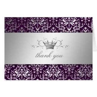 311-Dazzling Damask Silver Thank you Eggplant Card