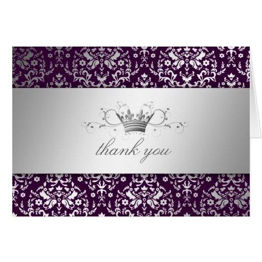 311-Dazzling Damask Silver Thank you Eggplant Card