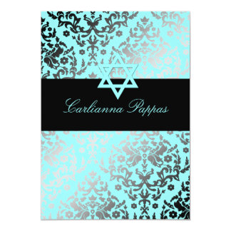 311 Dazzling Damask Turquoise Blue Star of David Card