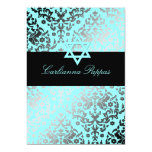 311 Dazzling Damask Turquoise Blue Star of David 5x7 Paper Invitation Card