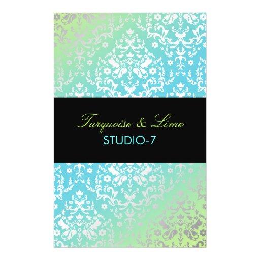 "311 Dazzling Damask Turquoise & Lime Black 5.5"" X 8.5"" Flyer"