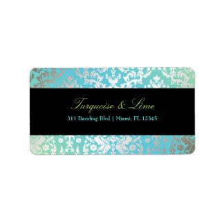 311-Dazzling Damask Turquoise & Lime Black Address Label