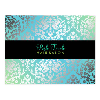 311 Dazzling Damask Turquoise & Lime Black Postcard
